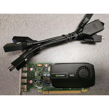 PNY Nvidia Quadro NVS 510 Quad Display PCIe x16 Graphics Card & 4 x Mini DP Cables