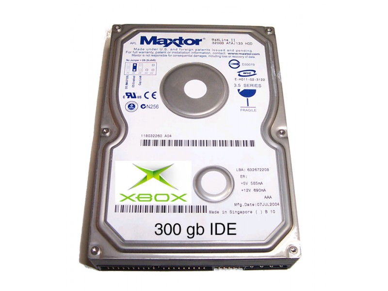 XBOX 300gB IDE Hard Drive - UnleashX & Coin-Ops (Lockable)